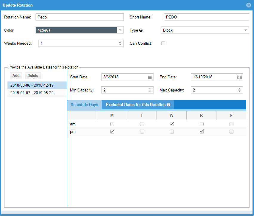 Optimized Scheduling Configuration